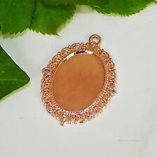 25x18 Oval Rose Gold Plated Cabochon (Cab) Drop Setting (#C1-12)