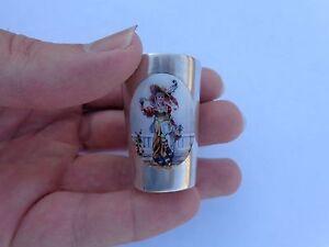 Late 1800s German 800 Silver Miniature Enamel Victorian Renoir Lady Goblet Cup!