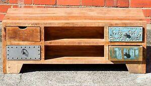 Vintage Reclaimed Timber Multi Drawer Storage Coffee Table