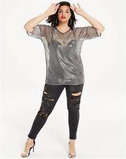 SIMPLY BE Plus Size Metallic Mesh T Shirt Top in Silver