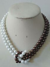Beautiful 8mm White&Brown 2 Rows South Sea Shell Pearl necklace 20inch AAA