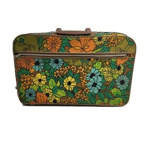 Vintage 60s 70s Retro Mod Small/Medium Suitcase Flower Travel Bag Green Orange