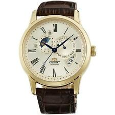 Gold Plated Case Men's Moon Phase Wristwatches