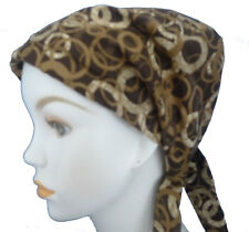 Brown Classic Circles Womans Cancer Turban Fitted Chemo Hair Head Scarves Hat