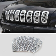 For Jeep Cherokee 2014-2018 Front Grille Inserts Mesh Trim Frame Accessories