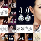 Women 925 Sterling Silver Crystal Rhinestone Ear Stud Earrings Small Hoop Drop