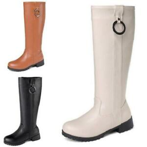 Women's Block Low Heel Round Toe Pull On Knee High Boots Stylish Warm Shoes Size