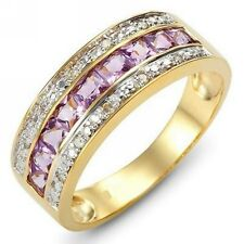 Jewelry Size 7 Elegant Amethyst 18K Gold Filled Engagement Womens Fashion Ring