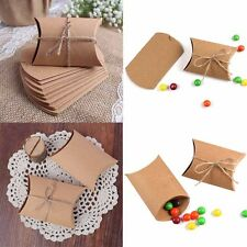 100pcs Kraft Paper Pillow Gift Boxes Candy Box Wedding Party Favors Bags