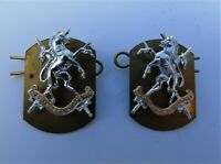 British Army Queens Own Lowland Yeomanry Anodised Collar Badges