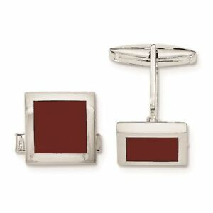 Sterling Silver Red Agate Cuff Links MSRP $277