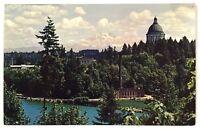 State Capitol Mount Rainier Bird's Eye View Olympia Washington Vintage Postcard