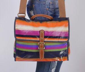 FOSSIL Lrg Multicolor Nylon Leather Crossbody Shoulder Tote Satchel Purse Bag