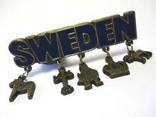 Schweden Magnet 5 Anhänger Metall Souvenir Dalapferd Elch Krone Wikinger