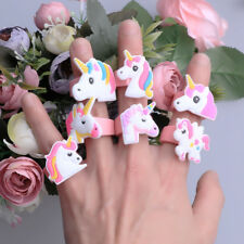 2Pcs Cartoon Cute Unicorn Finger Ring Silicone Soft Birthday Party Favor Charm L