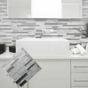 White Grey Marble Mosaic Peel and Stick Wall Tile Self adhesive Backsplash DIY