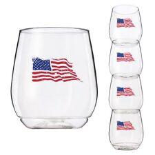4-pack Wine-Oh! Designer BPA Free Plastic Shatterproof Wine Glass AMERICAN FLAG