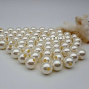 10-16mm Round South Sea Shell Pearls Loose Beads Large Hole 2mm 3mm 4mm