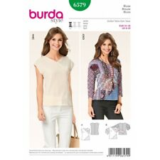 Burda Misses Asymmetric Contrast Panel Blouses and Shirts Sewing Pattern 6579