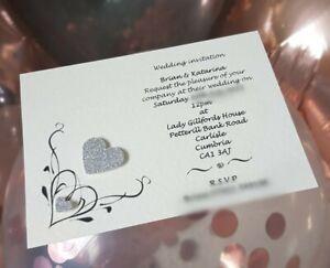 25 Handmade Personalised Heart Wedding Invitations day / evening free envelopes