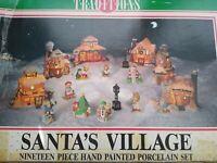 19 Piece Porcelain Christmas Santa's Village, Rare, Discontinued Lights Work