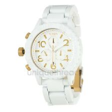 NIXON All White / Gold 42-20 CHRONO Wristwatch WATCH New In Box