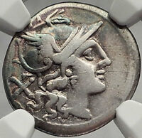 Roman Republic ANONYMOUS 211BC Gemini Twins on Horses Silver Coin i61984
