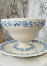 Wedgewood Queensware Large Bowl And Plate White with Blue Grape and Leaves