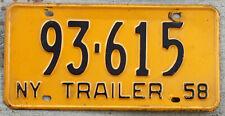 Nice 1958 Black on Orange New York TRAILER License Plate