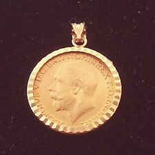 Britain King George V 916/1000  22 k One Gold Sovereign Coin 14k Bezel Pendant