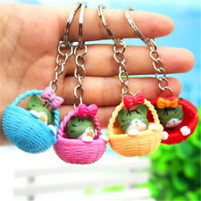 Japanese Lucky Bowknot Basket Cats Keyring Keychain Key Ring Chain Gift 1pc ♫