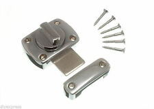 NEW 2 X THUMB TURN LATCH DOOR CATCH MATT CHROME PLATED + FIXING SCREWS
