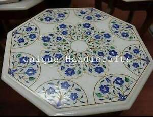 Marble White Coffee End Table Top Lapis Marquetry Floral Inlaid Art Outdoor Deco