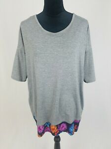 Lularoe women S Irma T-Shirt gray hi-low tunic short sleeve floral panel