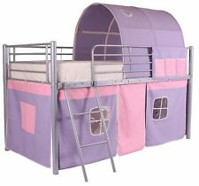 Mid Sleeper Cabin Bed Childrens Kids Tent Bunk Tunnel Boys Girls silver Metal PP