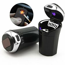 Car Ashtray Ash Blue LED Light Smokeless Stand Cylinder for Auto Car Cup Holder