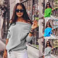 ❤️ Women's One Shoulder Long Sleeve Knitted Sweater Pullovers Jumper Tops Blouse