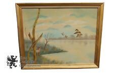 Hunting Season Landscape Oil Painting Duck Pond by Adams in 1987 Wilfowler Vtg