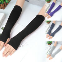 Women Men Protection Arm Warmer Long Fingerless Stretchy Gloves Sleeves Mittens