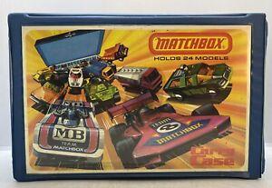 Vintage 1976 Lesney Matchbox Die Cast Toy Cars Blue Vinyl Collectors Carry Case