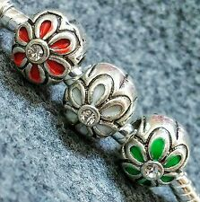 3PC SET Christmas Flowers RED GREEN WHITE Clear CZ Holiday European Bead Charms