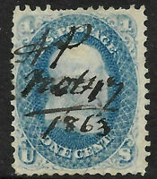 Sc #63 1863 Manuscript Fancy Cancel Franklin 1 Cent 1861-1862 Civil War US 93B54