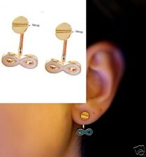Urban Minimal Gold Nail Head Stud & White Enamel Infinity Ear Jackets Earrings