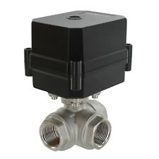 """3/4"""" NPT, 3-way, 12V DC, Motorized Ball Valve, Stainless Steel / PTFE  3-wire"""