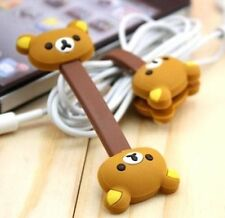 Brown Rilakkuma Relax Bear Earphone Cable Bobbin Winder Organizer 1pc ♫