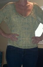 Free People yellow and turquoise blouse, Large with beaded neckline
