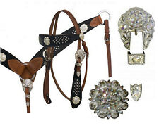 WESTERN HORSE BLING ! LEATHER TACK SET BRIDLE + BREAST COLLAR W/7' SPLIT REINS