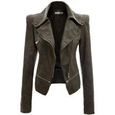 Women Long FAUX LEATHER JACKET Zipper Biker Jacket Ladies Blazer Coat Size 6-18