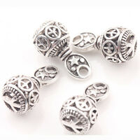 Hollow Out Peace Sign Beads Tibet Silver Pendant  Crafts Makings Jewelry 10*20MM