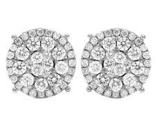 Mens Ladies 14k White Gold Real Diamond Cluster Flower Studs Earrings 2 Ct 12mm
